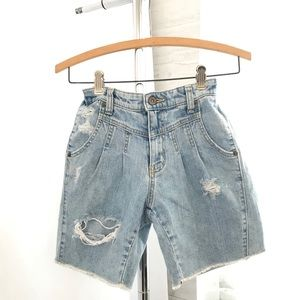 Carmar High Waisted Pleated Front Distressed Short